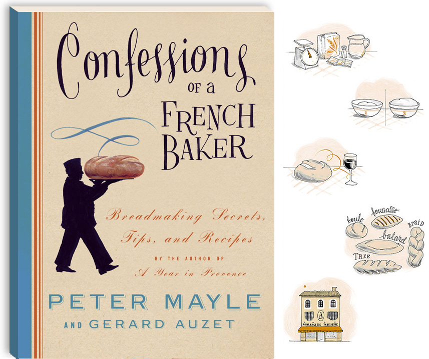 Leigh Wells Illustration Lettering Book Cover Peter Mayle Knopf Confessions of a French Baker