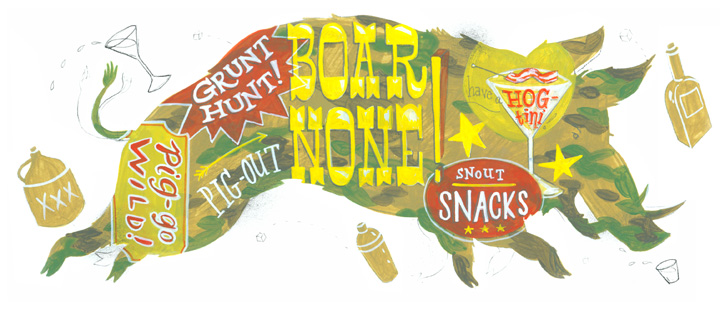 Leigh Wells Illustration Lettering Hog Texas Monthly