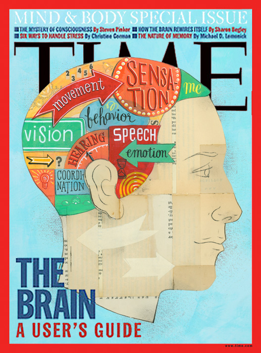 Leigh Wells Illustration Lettering Time Magazine Cover Brain