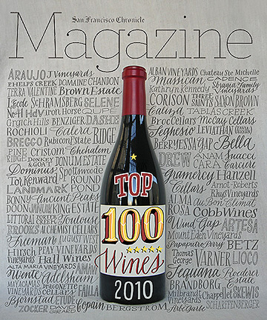 Leigh Wells Lettering Illustration San Francisco Chronice Top 100 Wines 2010 Cover